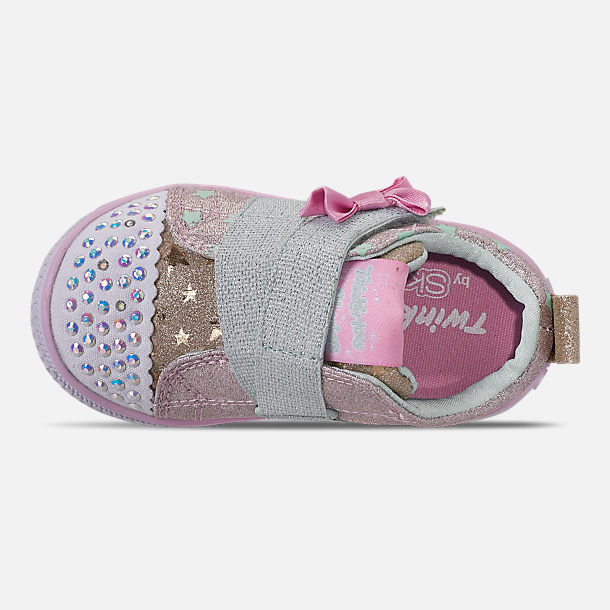 Top view of Girls' Toddler Skechers Twinkle Toes: Twinkle Play - Sparkle Shines Light Up Hook-and-Loop Casual Shoes in Glitter Star Print