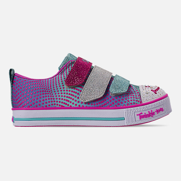 Right view of Girls' Little Kids' Skechers Twinkle Toes: Twinkle Lite - Shiny Smilez Light Up Hook-and-Loop Casual Shoes in Colorful Polka Dot