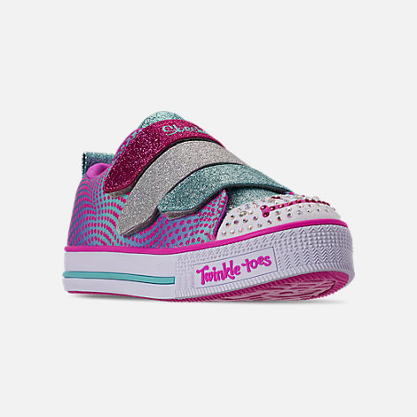 Three Quarter view of Girls' Little Kids' Skechers Twinkle Toes: Twinkle Lite - Shiny Smilez Light Up Hook-and-Loop Casual Shoes in Colorful Polka Dot