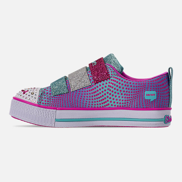 Left view of Girls' Little Kids' Skechers Twinkle Toes: Twinkle Lite - Shiny Smilez Light Up Hook-and-Loop Casual Shoes in Colorful Polka Dot