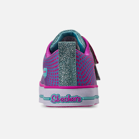 Back view of Girls' Little Kids' Skechers Twinkle Toes: Twinkle Lite - Shiny Smilez Light Up Hook-and-Loop Casual Shoes in Colorful Polka Dot