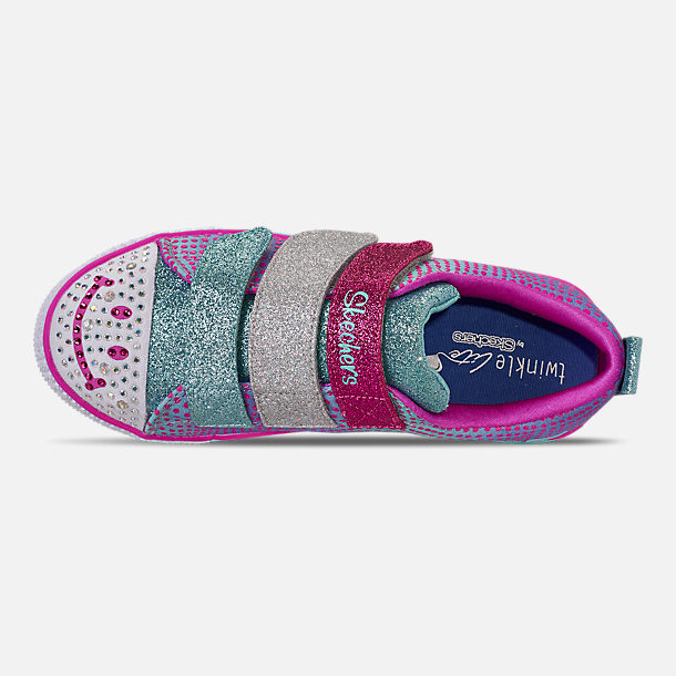 Top view of Girls' Little Kids' Skechers Twinkle Toes: Twinkle Lite - Shiny Smilez Light Up Hook-and-Loop Casual Shoes in Colorful Polka Dot