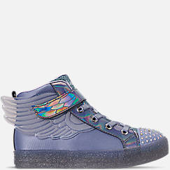 Girls' Little Kids' Skechers Twinkle Toes: Shuffle Brights - Sparkle Wings Light Up High Top Casual Shoes