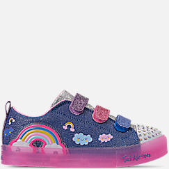 Girls' Little Kids' Skechers Twinkle Toes: Shuffle Brights - Rainbow Glow Light Up Hook-and-Loop Casual Shoes