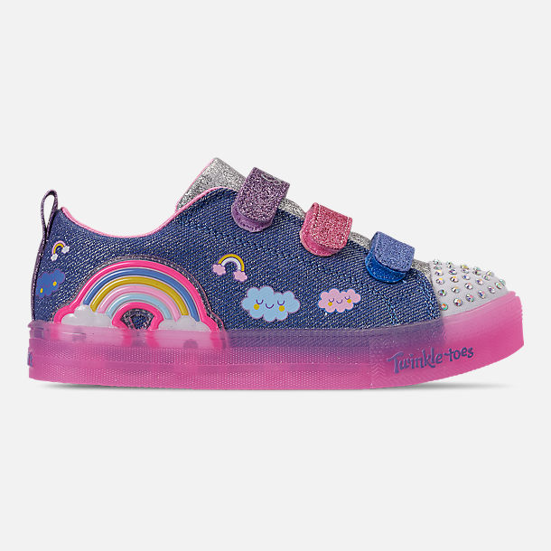Right view of Girls' Little Kids' Skechers Twinkle Toes: Shuffle Brights - Rainbow Glow Light Up Hook-and-Loop Casual Shoes in Lighted Rainbow