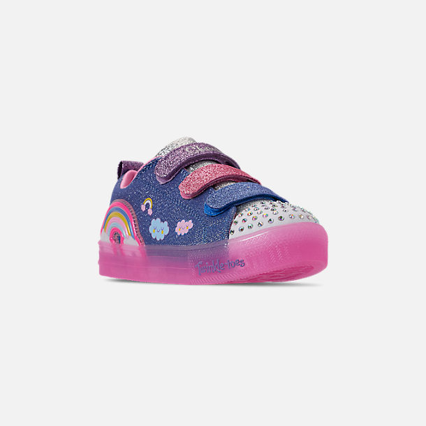 Three Quarter view of Girls' Little Kids' Skechers Twinkle Toes: Shuffle Brights - Rainbow Glow Light Up Hook-and-Loop Casual Shoes in Lighted Rainbow