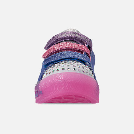 Front view of Girls' Little Kids' Skechers Twinkle Toes: Shuffle Brights - Rainbow Glow Light Up Hook-and-Loop Casual Shoes in Lighted Rainbow