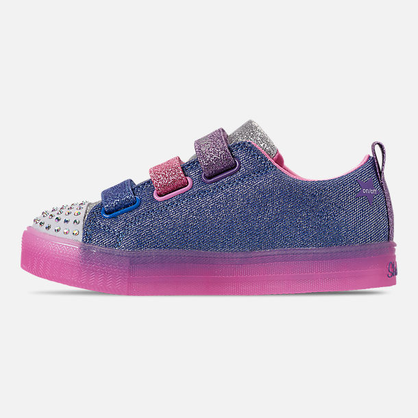 Left view of Girls' Little Kids' Skechers Twinkle Toes: Shuffle Brights - Rainbow Glow Light Up Hook-and-Loop Casual Shoes in Lighted Rainbow