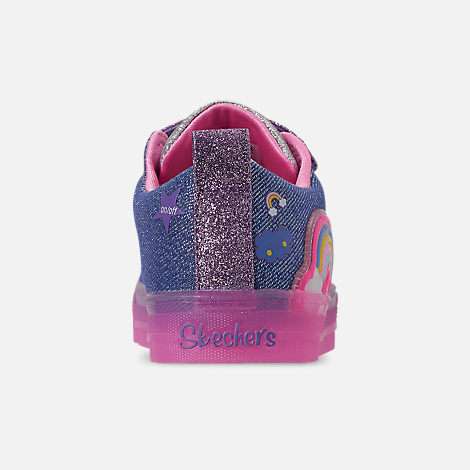 Back view of Girls' Little Kids' Skechers Twinkle Toes: Shuffle Brights - Rainbow Glow Light Up Hook-and-Loop Casual Shoes in Lighted Rainbow