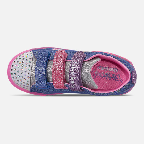 Top view of Girls' Little Kids' Skechers Twinkle Toes: Shuffle Brights - Rainbow Glow Light Up Hook-and-Loop Casual Shoes in Lighted Rainbow