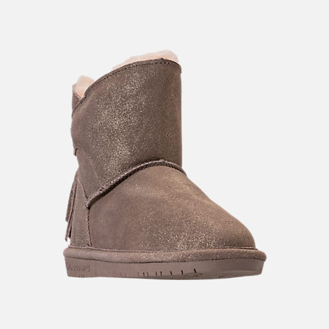 Three Quarter view of Girls' Little Kids' Bearpaw Mia Boots in Pewter Distressed