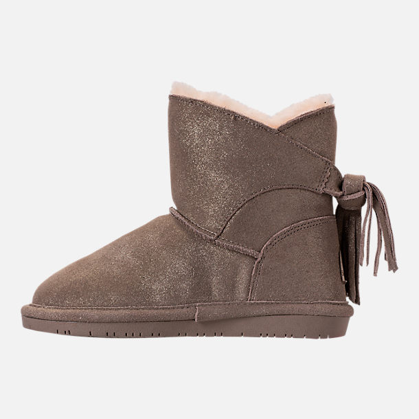 Left view of Girls' Little Kids' Bearpaw Mia Boots in Pewter Distressed