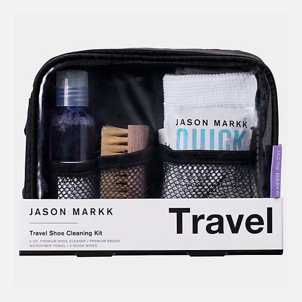 Front view of Jason Markk Travel Shoe Cleaning Kit in None