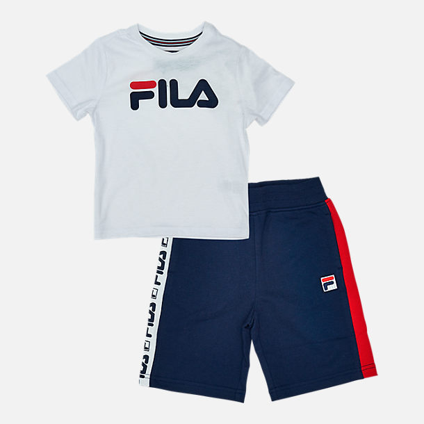 Front view of Boys' Toddler Fila Classic Logo Short Set