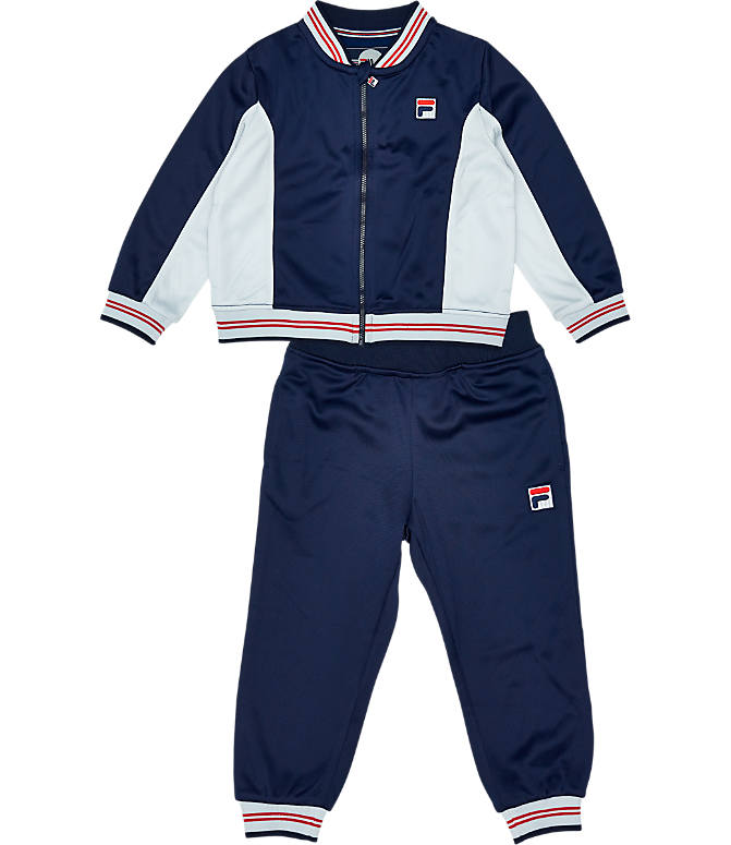 Front view of Boys' Toddler Fila Classic Track Set in Navy/White