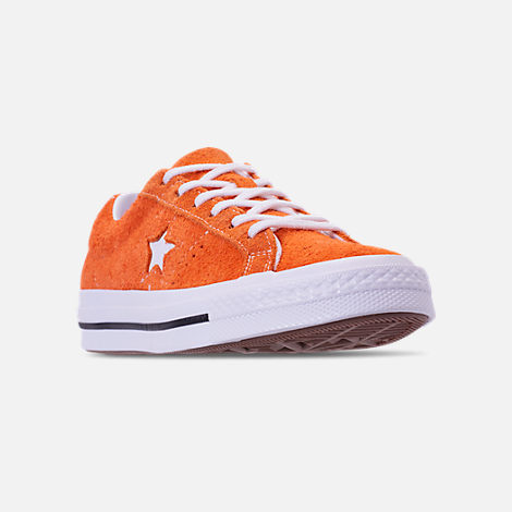 Three Quarter view of Boys' Grade School Converse One Star Casual Shoes in Bold Mandarin/Black/White