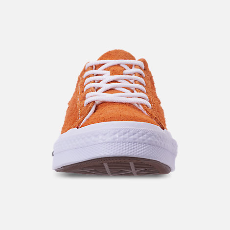 Front view of Boys' Grade School Converse One Star Casual Shoes in Bold Mandarin/Black/White