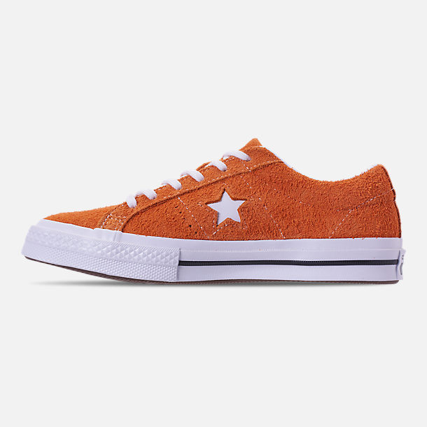 Left view of Boys' Grade School Converse One Star Casual Shoes in Bold Mandarin/Black/White