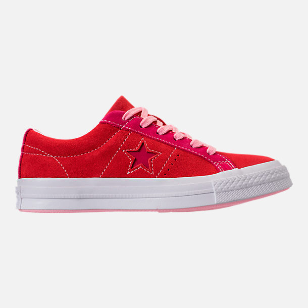 Right view of Girls' Big Kids' Converse One Star Casual Shoes in Enamel Red/Pink Pop/Arctic Punch