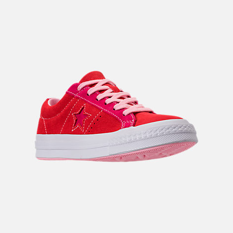 Three Quarter view of Girls' Big Kids' Converse One Star Casual Shoes in Enamel Red/Pink Pop/Arctic Punch