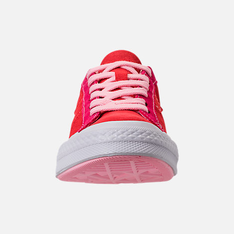 Front view of Girls' Big Kids' Converse One Star Casual Shoes in Enamel Red/Pink Pop/Arctic Punch