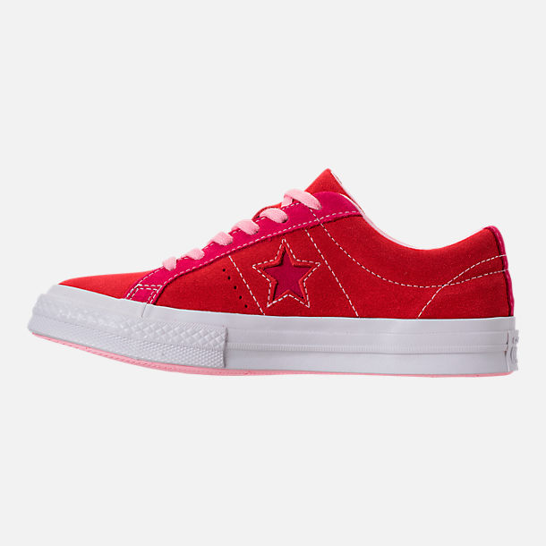 Left view of Girls' Big Kids' Converse One Star Casual Shoes in Enamel Red/Pink Pop/Arctic Punch
