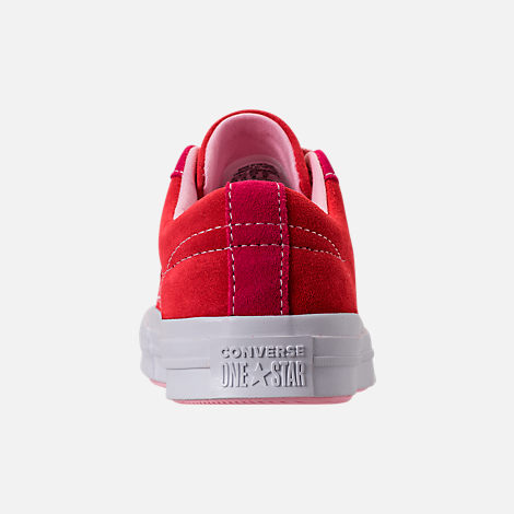 Back view of Girls' Big Kids' Converse One Star Casual Shoes in Enamel Red/Pink Pop/Arctic Punch