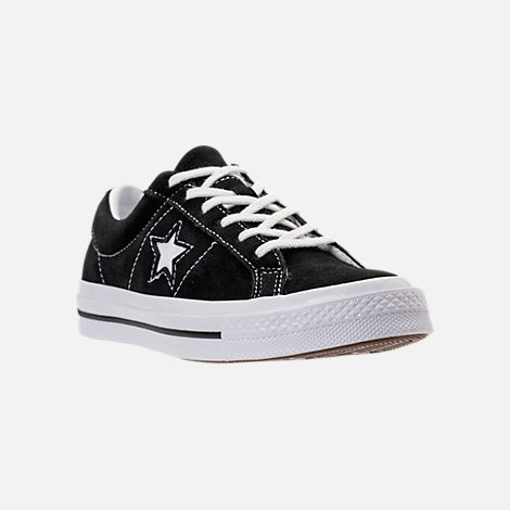 Three Quarter view of Boys' Big Kids' Converse One Star Casual Shoes in Black