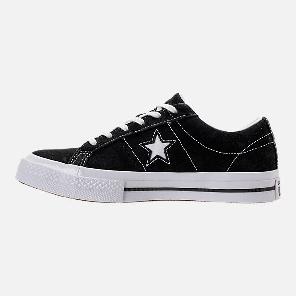 Left view of Boys' Big Kids' Converse One Star Casual Shoes in Black