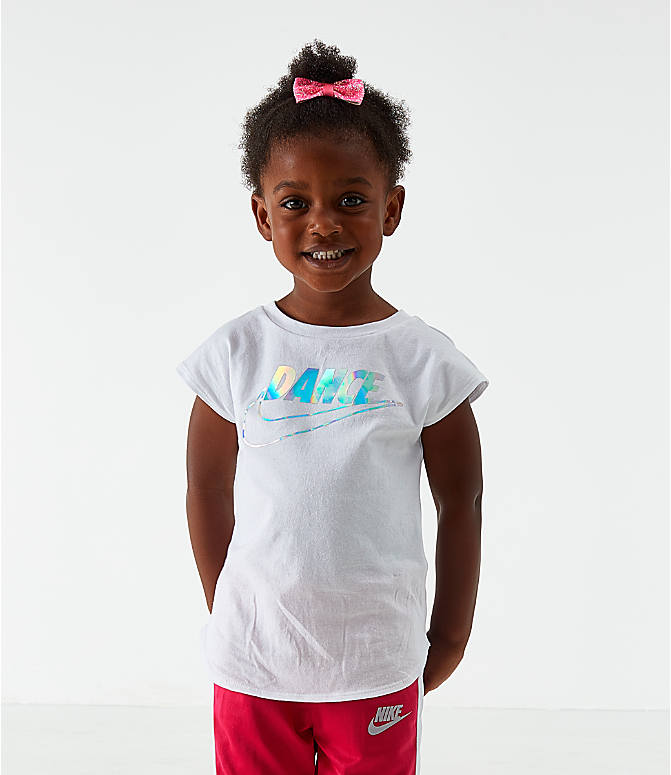 Front view of Girls' Toddler Nike Dance T-Shirt in White