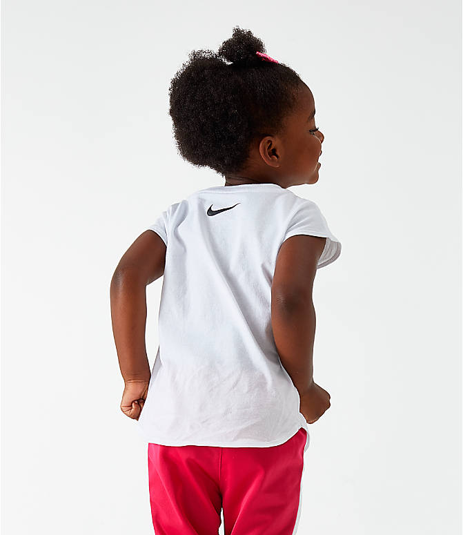 Front Three Quarter view of Girls' Toddler Nike Dance T-Shirt in White