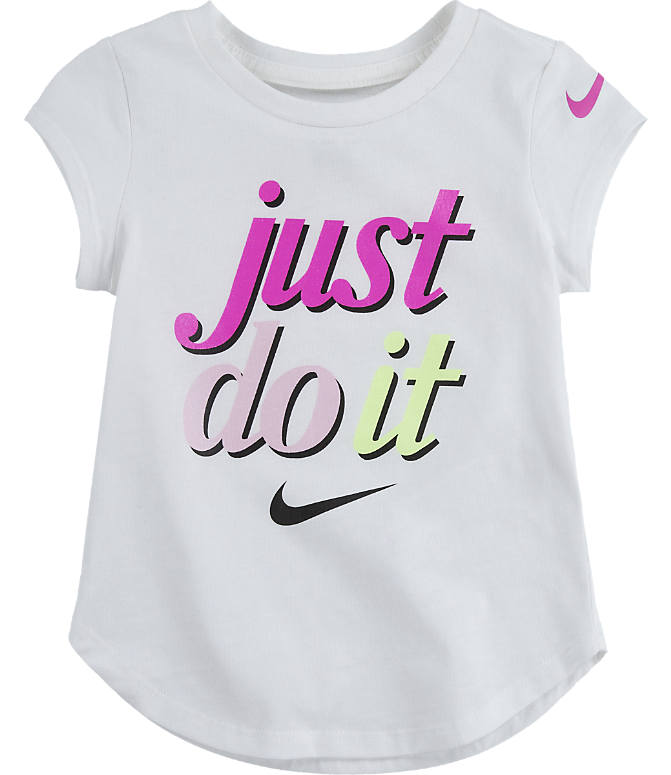 Front view of Girls' Toddler Nike Just Do It T-Shirt in White
