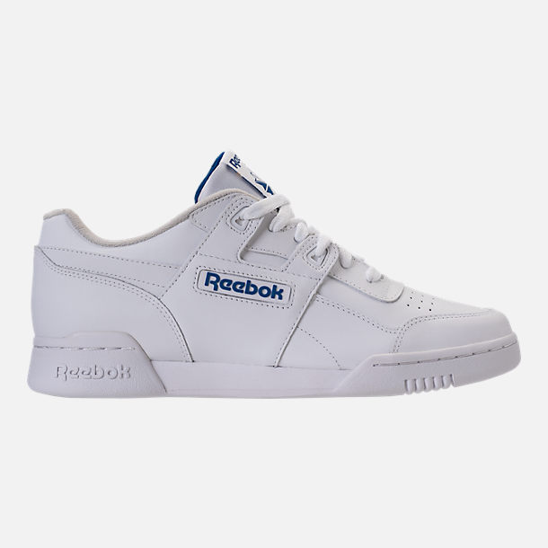 Right view of Men's Reebok Workout Plus Casual Shoes in White/Royal