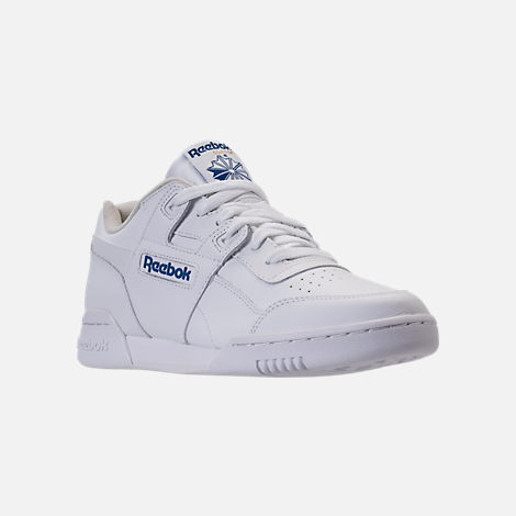 Three Quarter view of Men's Reebok Workout Plus Casual Shoes in White/Royal
