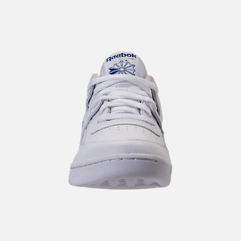 Front view of Men's Reebok Workout Plus Casual Shoes in White/Royal