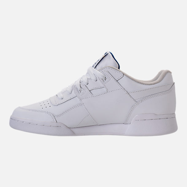 Left view of Men's Reebok Workout Plus Casual Shoes in White/Royal