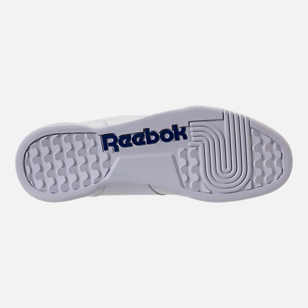 Bottom view of Men's Reebok Workout Plus Casual Shoes in White/Royal