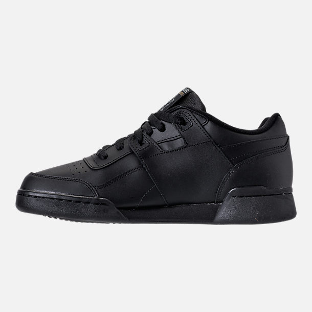 Left view of Men's Reebok Workout Plus Casual Shoes in Black/Charcoal