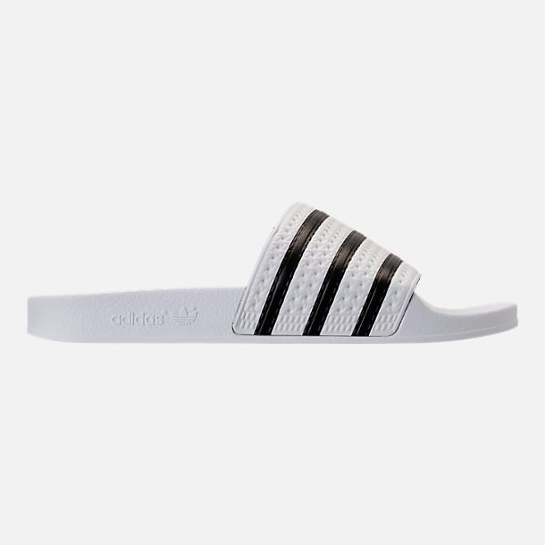 Right view of Men's adidas Adilette Slide Sandals in White/Core Black