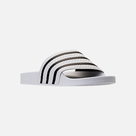 Three Quarter view of Men's adidas Adilette Slide Sandals in White/Core Black