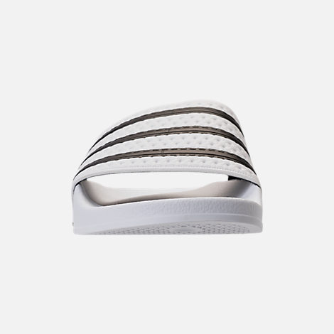 Front view of Men's adidas Adilette Slide Sandals in White/Core Black