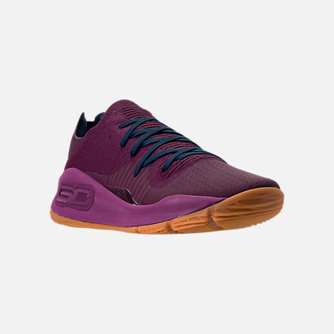 Three Quarter view of Men's Under Armour Curry 4 Low Basketball Shoes in Purple/Gum