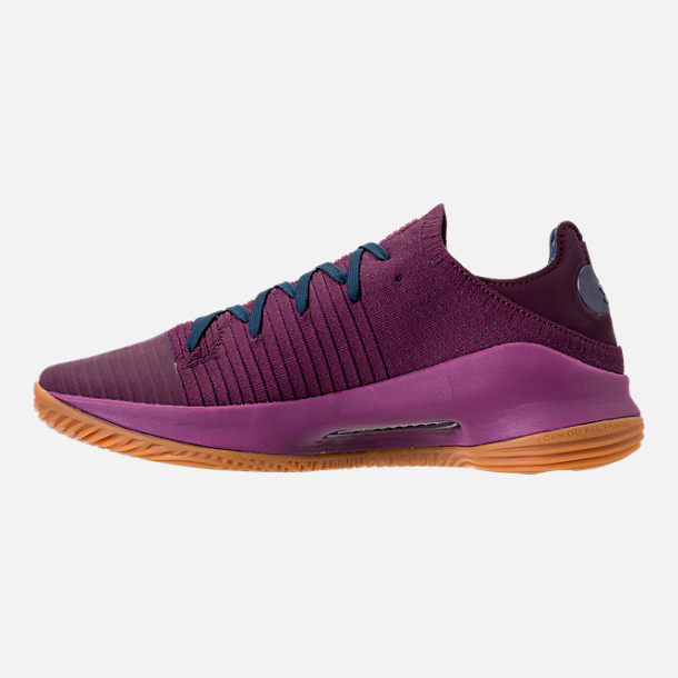 Left view of Men's Under Armour Curry 4 Low Basketball Shoes in Purple/Gum