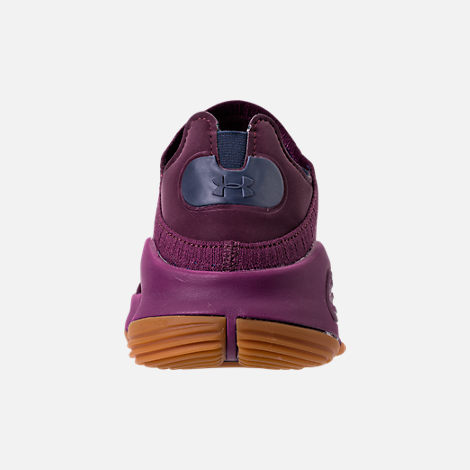Back view of Men's Under Armour Curry 4 Low Basketball Shoes in Purple/Gum