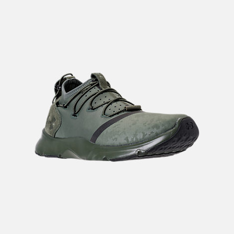 Three Quarter view of Men's Under Armour Cinch x NM1 Running Shoes in Downtown Green/Glacier Grey