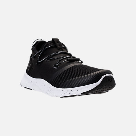 Three Quarter view of Boys' Grade School Under Armour Cinch Running Shoes in Black/White
