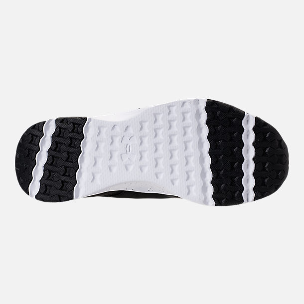 Bottom view of Boys' Grade School Under Armour Cinch Running Shoes in Black/White