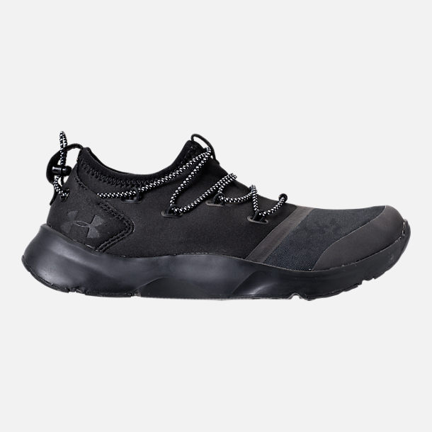 Right view of Boys' Grade School Under Armour Cinch Camo Running Shoes in Black/Overcast Grey/Black