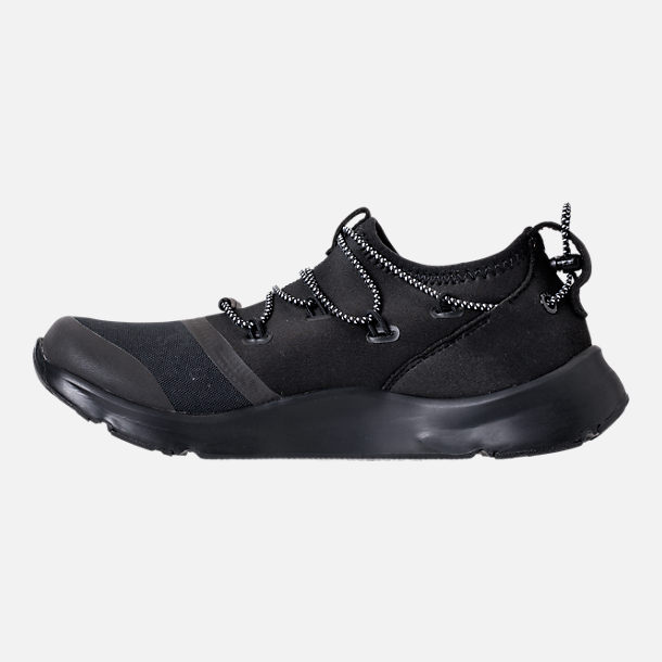 Left view of Boys' Grade School Under Armour Cinch Camo Running Shoes in Black/Overcast Grey/Black