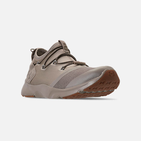 Three Quarter view of Boys' Grade School Under Armour Cinch x NM3 Running Shoes in Autumn Tan/Stone